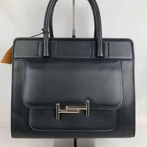 New Tod's Italian Double T Black Leather Tote